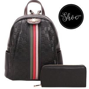 Quilted Bee Striped Backpack and Wallet Set